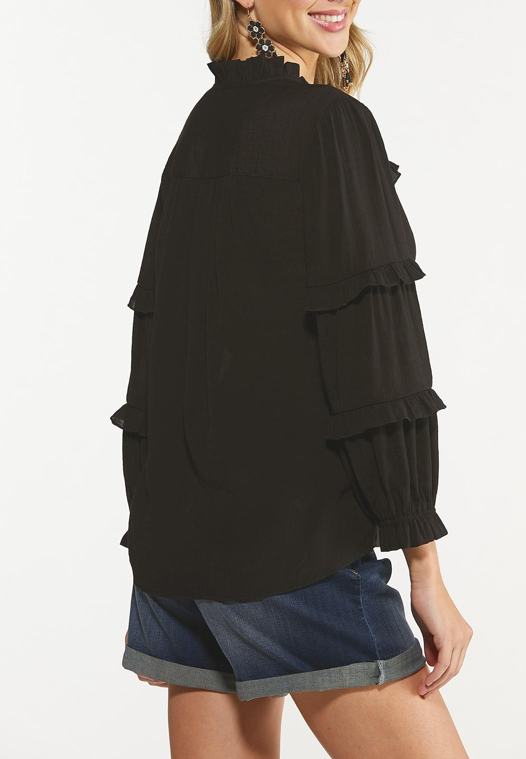 Plus Size Solid Ruffled Top (Item #44617767)