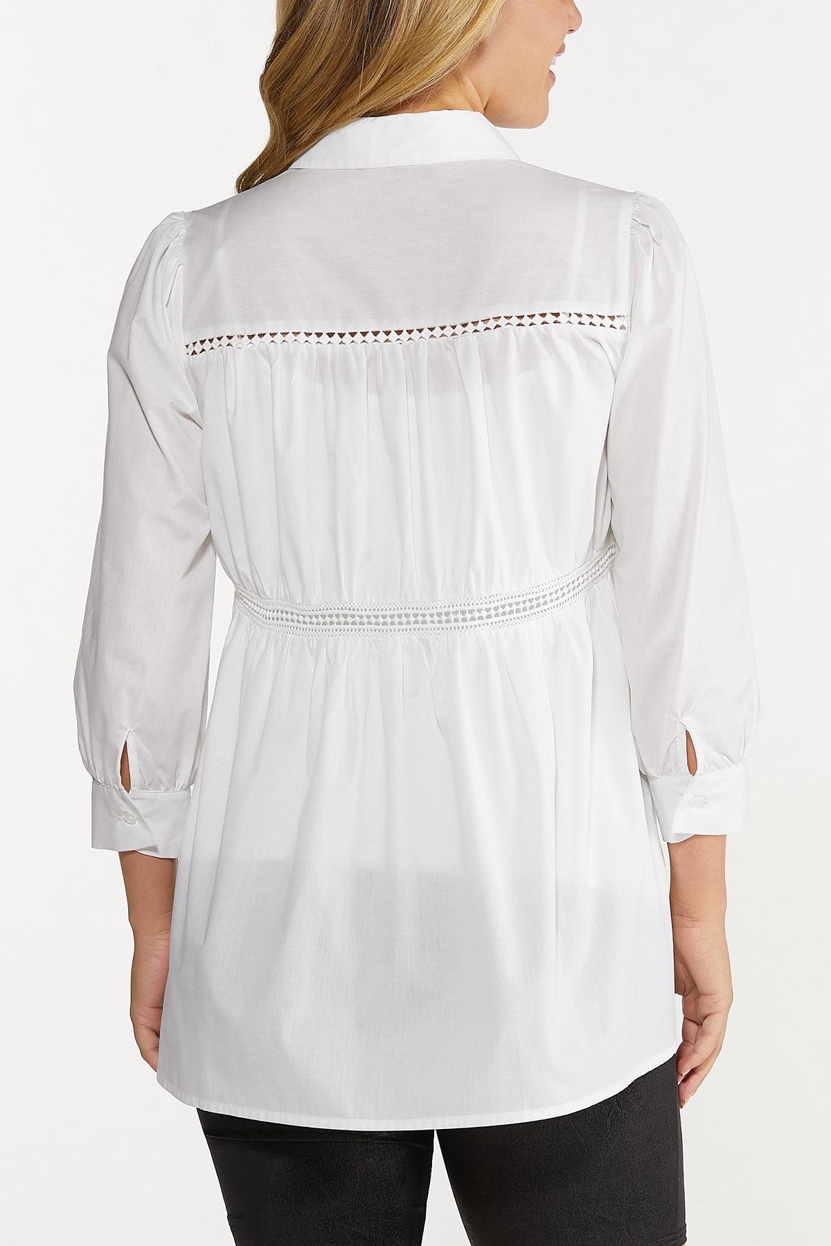 Plus Size Embroidered Trim Button Tunic (Item #44617854)
