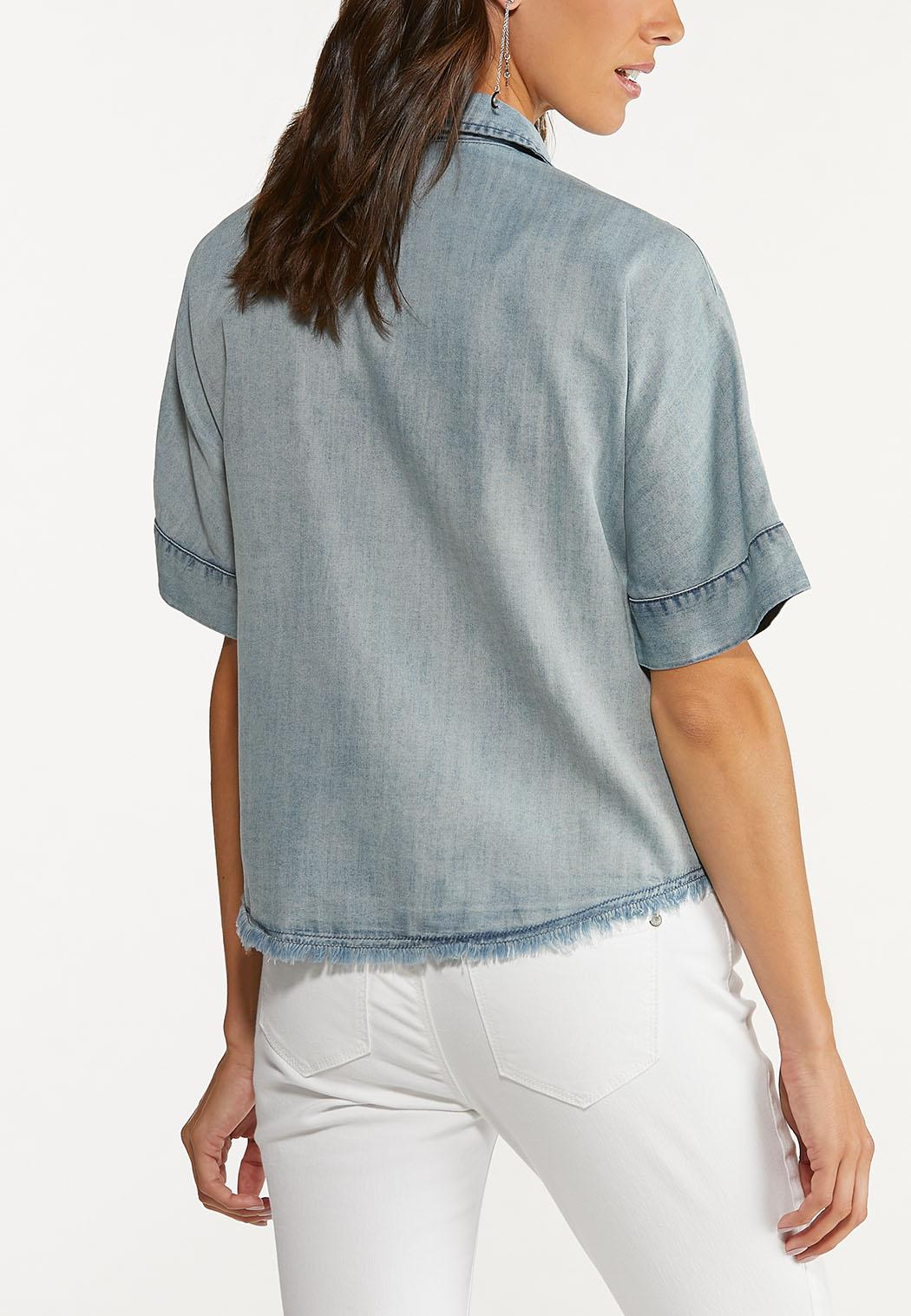 Plus Size Chambray Button Front Shirt (Item #44618044)