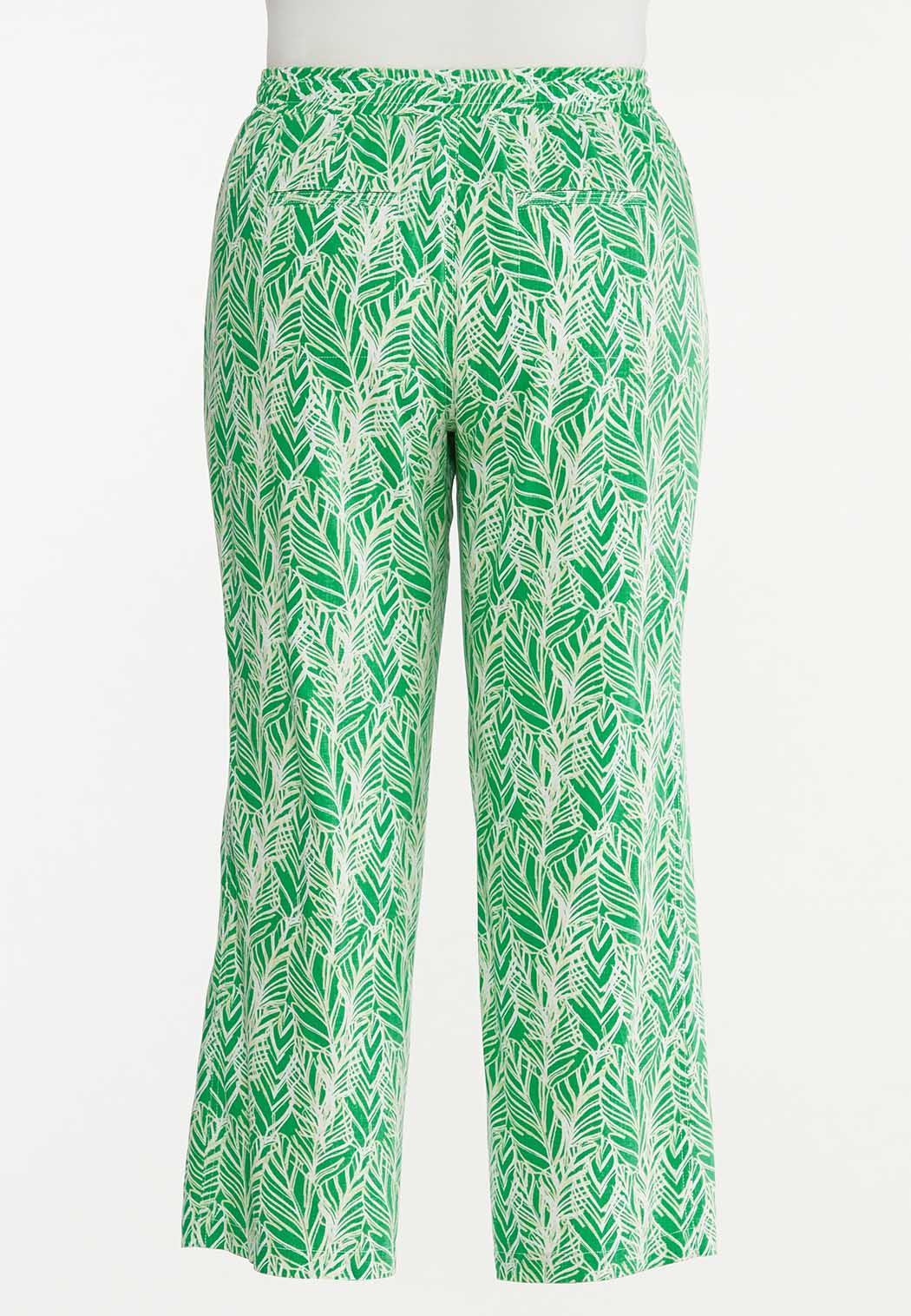 Plus Size Palm Leaf Linen Pants (Item #44618447)