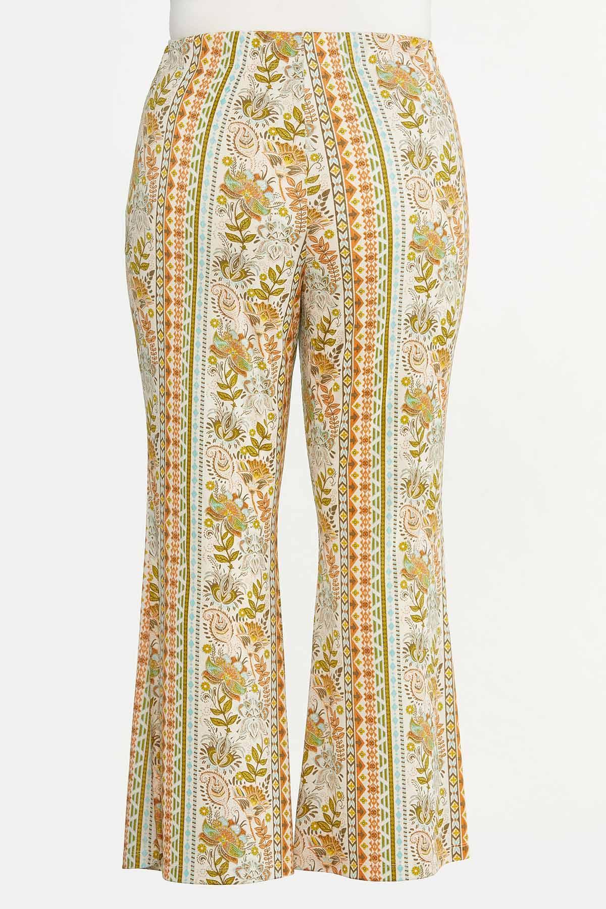 Plus Size Retro Floral Flare Pants (Item #44618552)