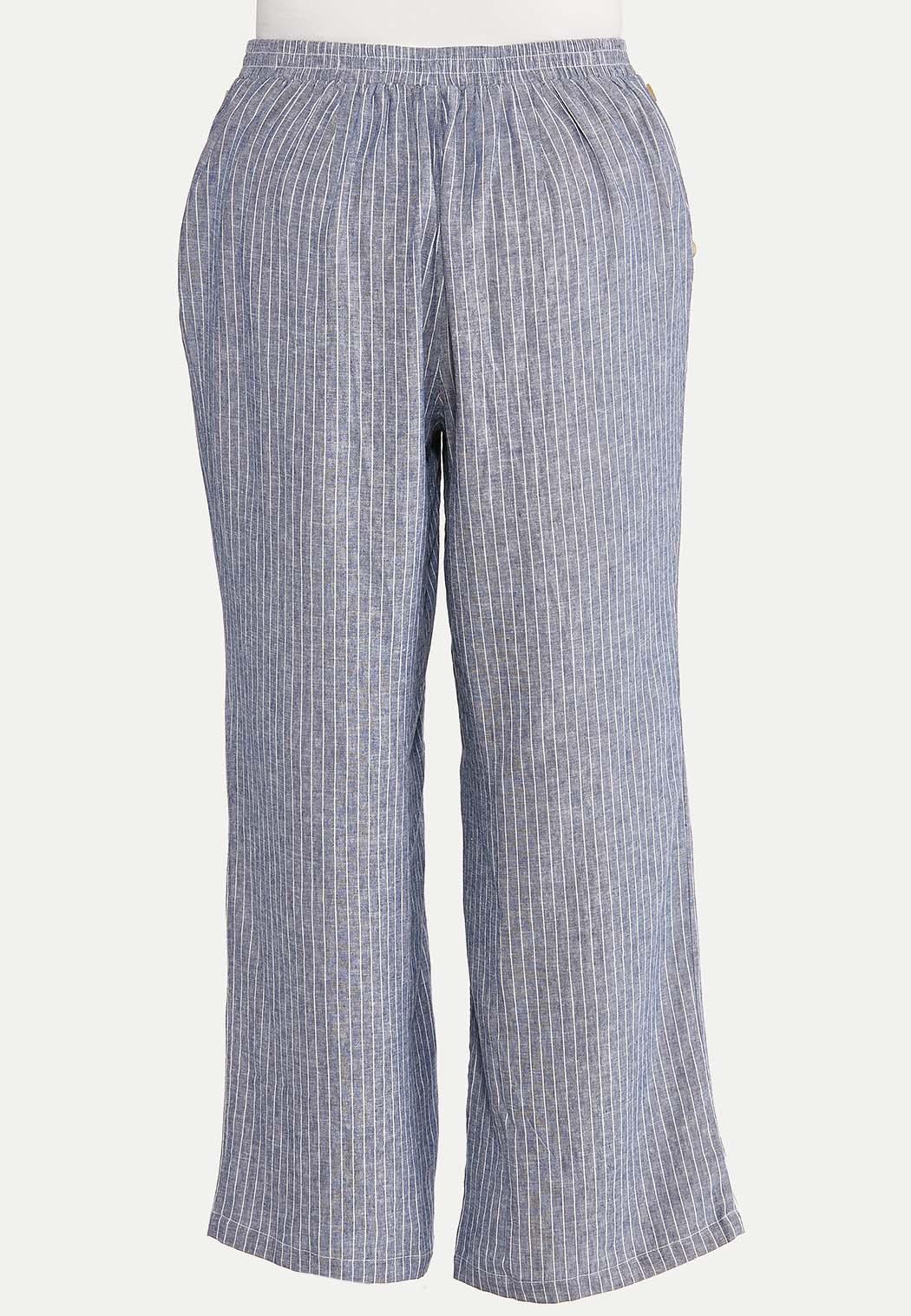 Plus Size Sailor Stripe Linen Pants (Item #44618579)