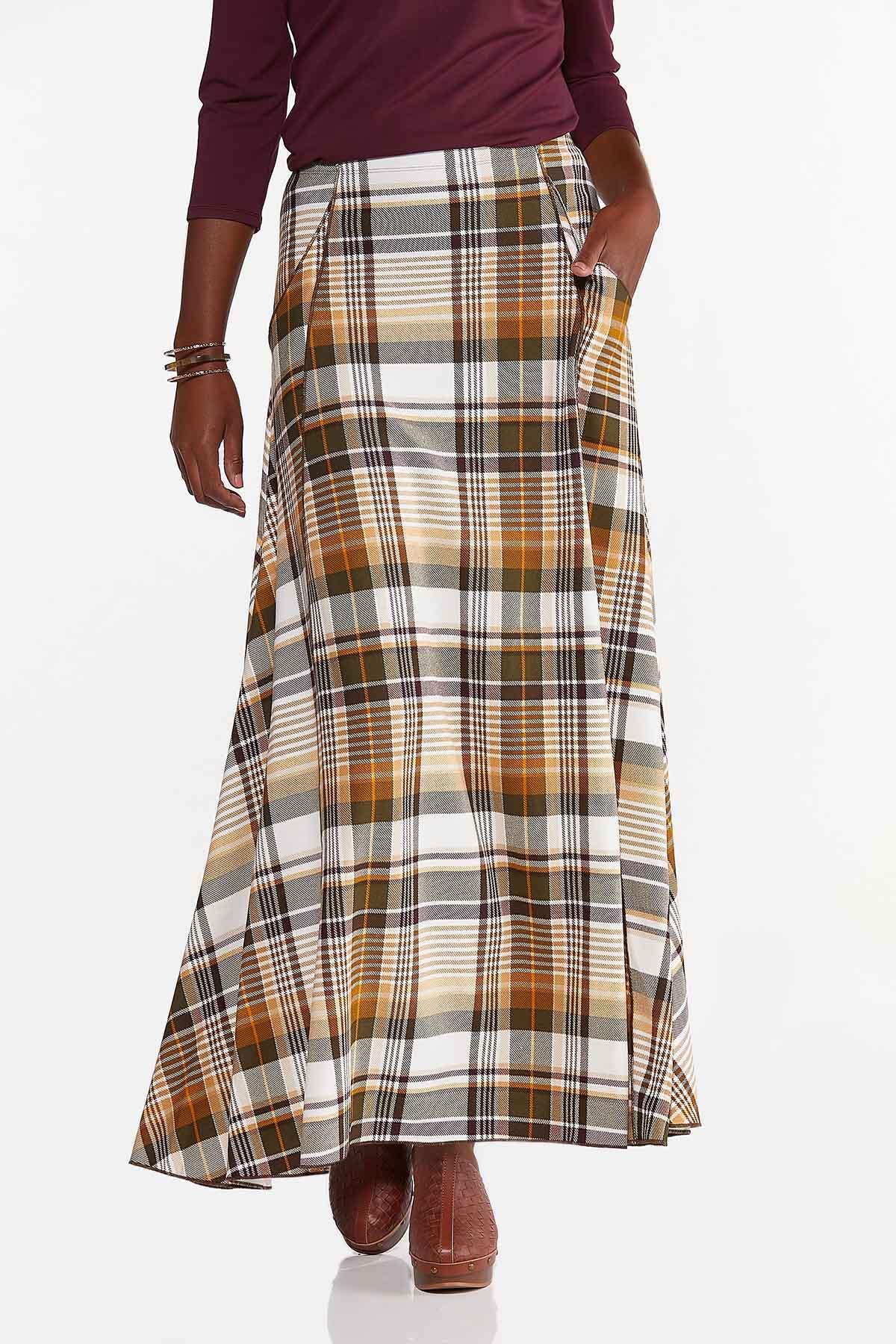 Plus Size Rustic Plaid Maxi Skirt (Item #44618580)