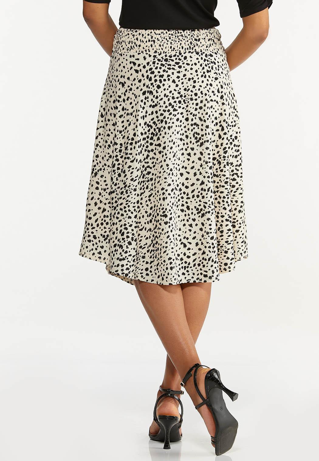Plus Size Textured Animal Print Skirt (Item #44618588)