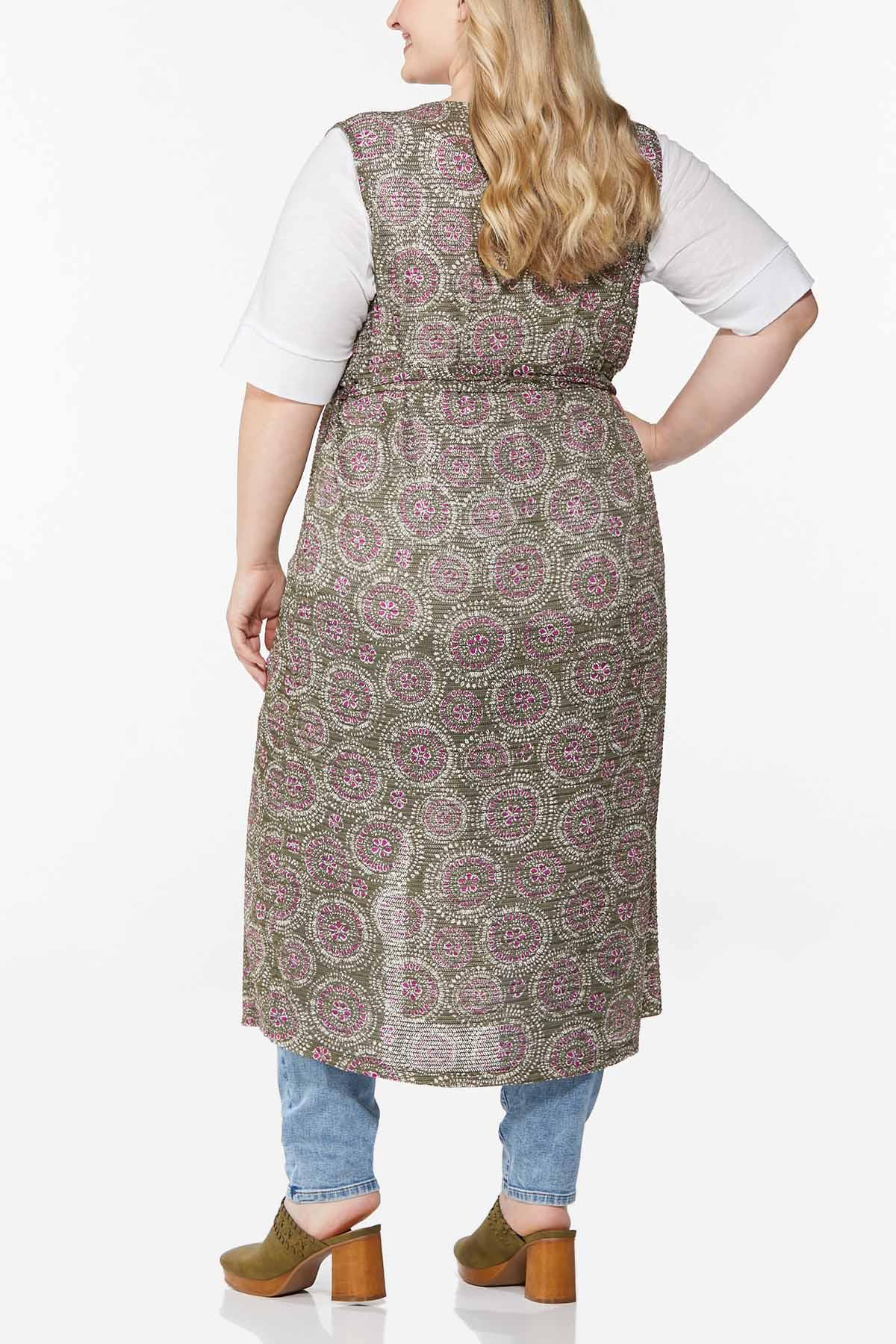 Plus Size Allover Print Belted Vest (Item #44618620)