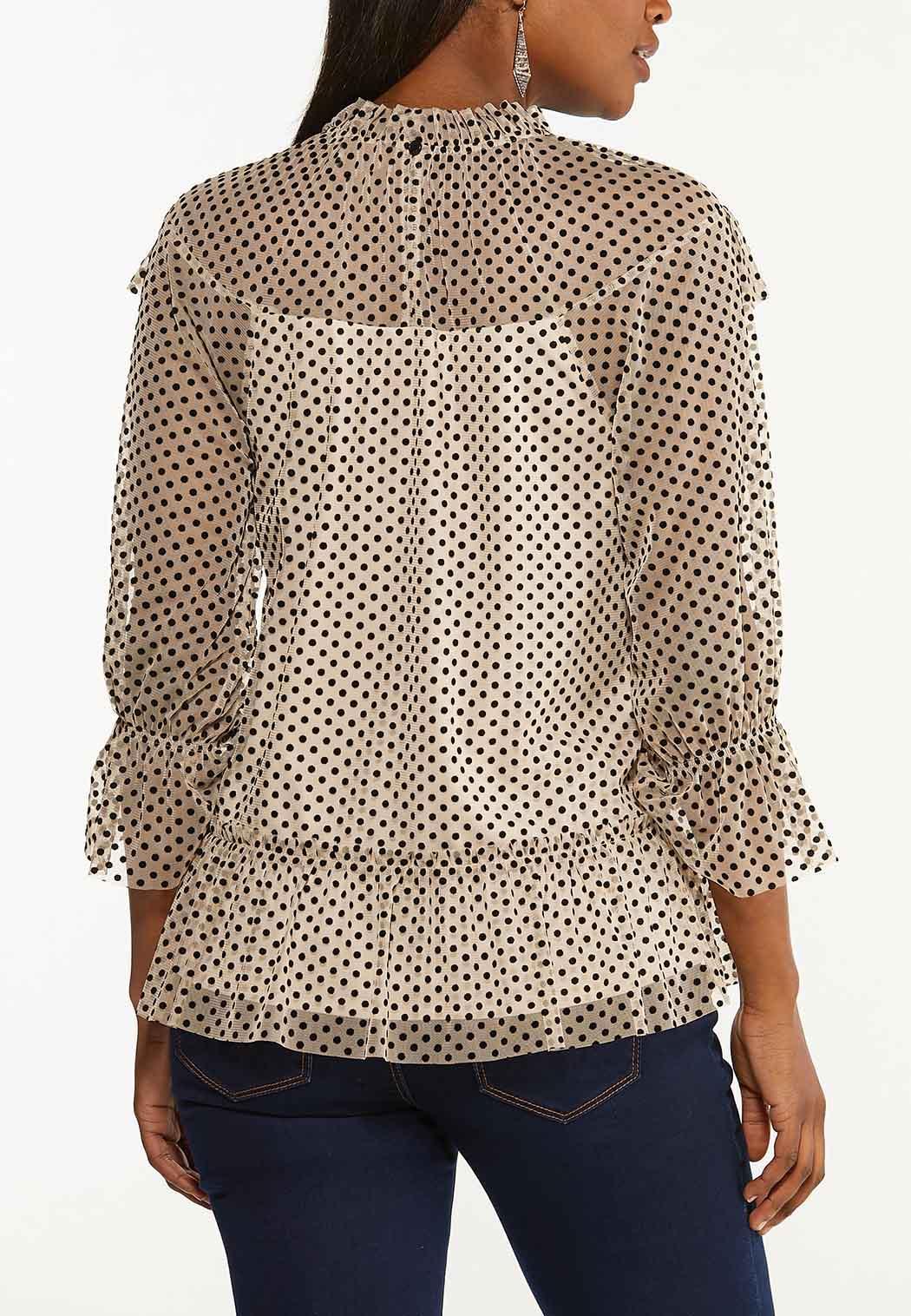 Plus Size Ruffled Flocked Dot Top (Item #44618977)
