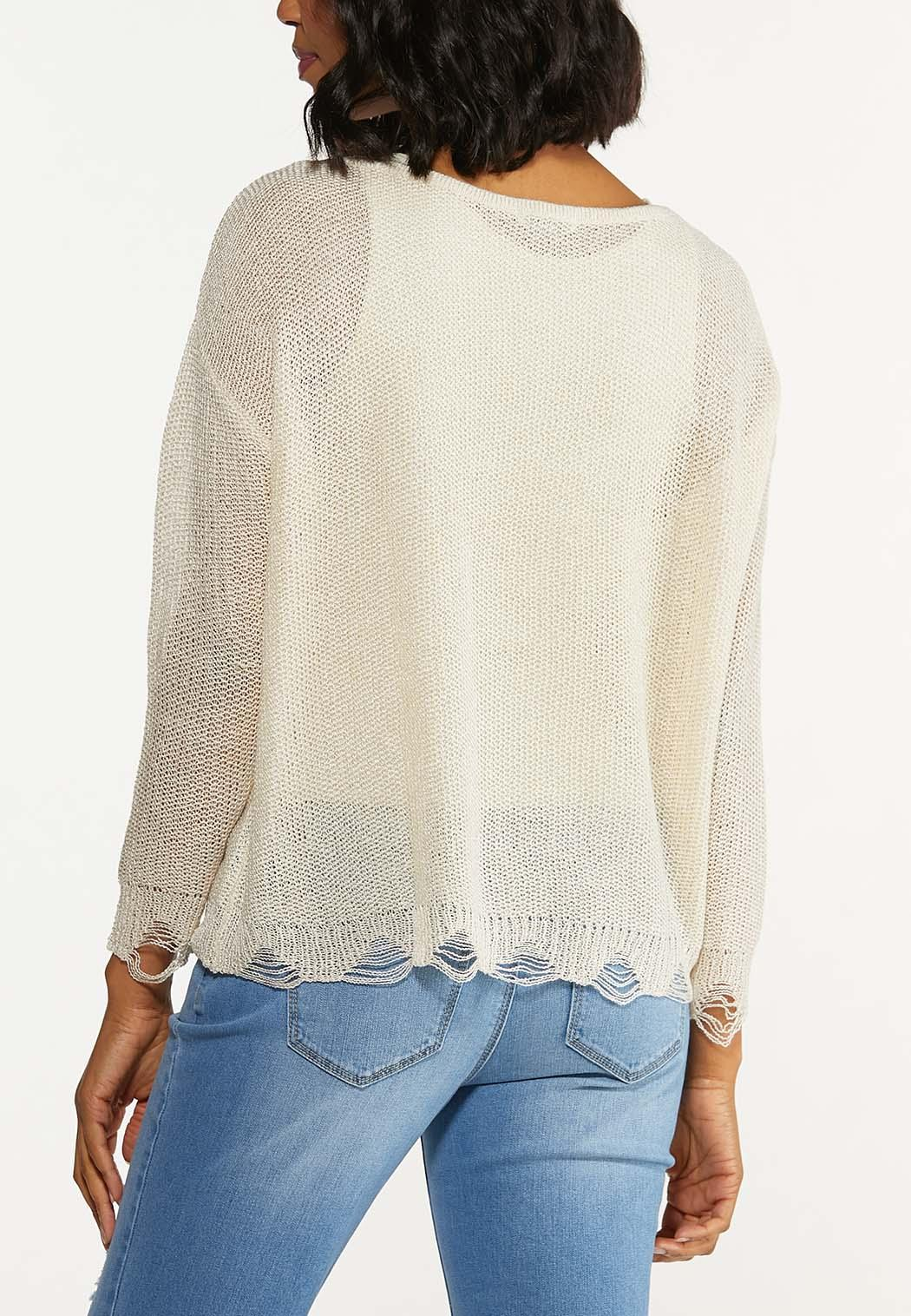 Distressed Scalloped Sweater (Item #44619069)