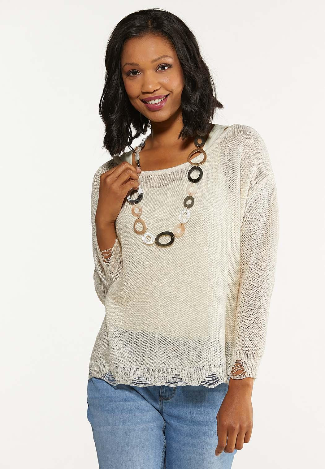 Plus Size Distressed Scalloped Sweater (Item #44619095)