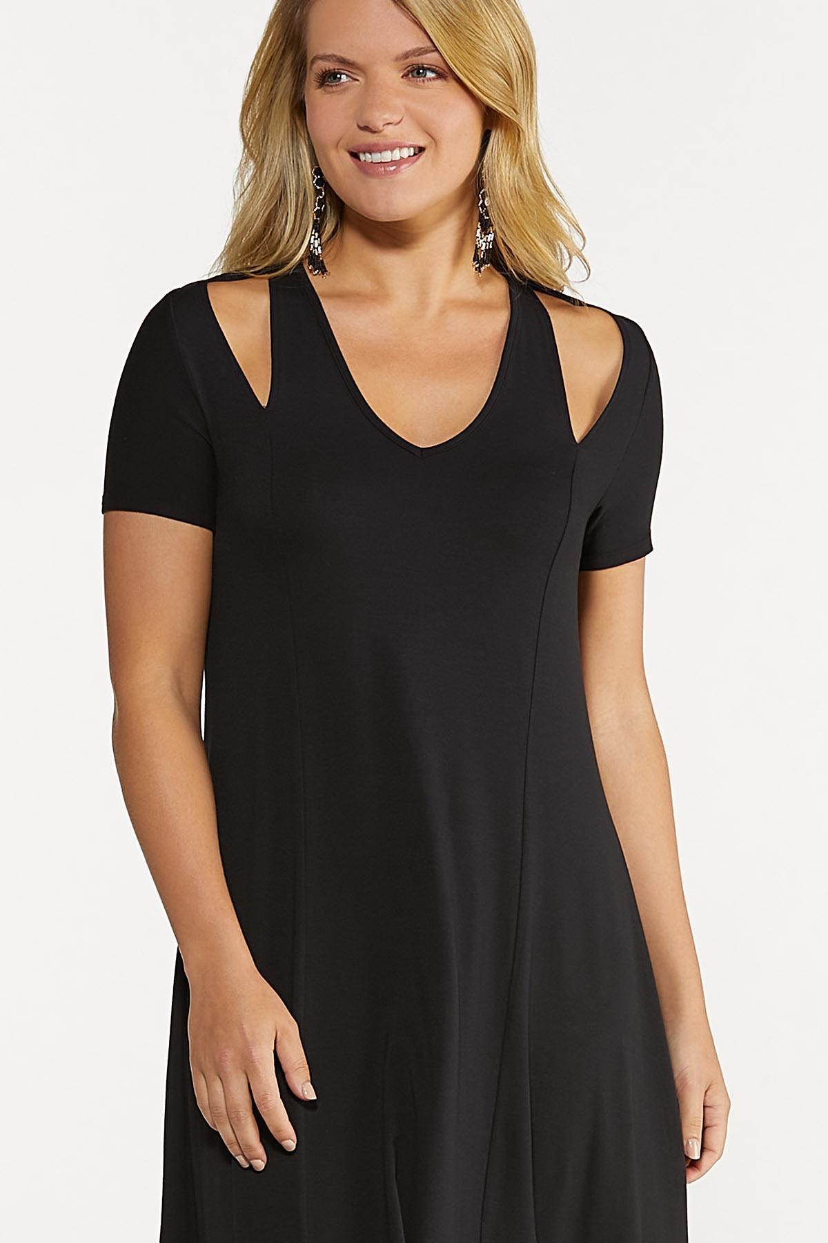Solid Cutout Shoulder Dress (Item #44619162)