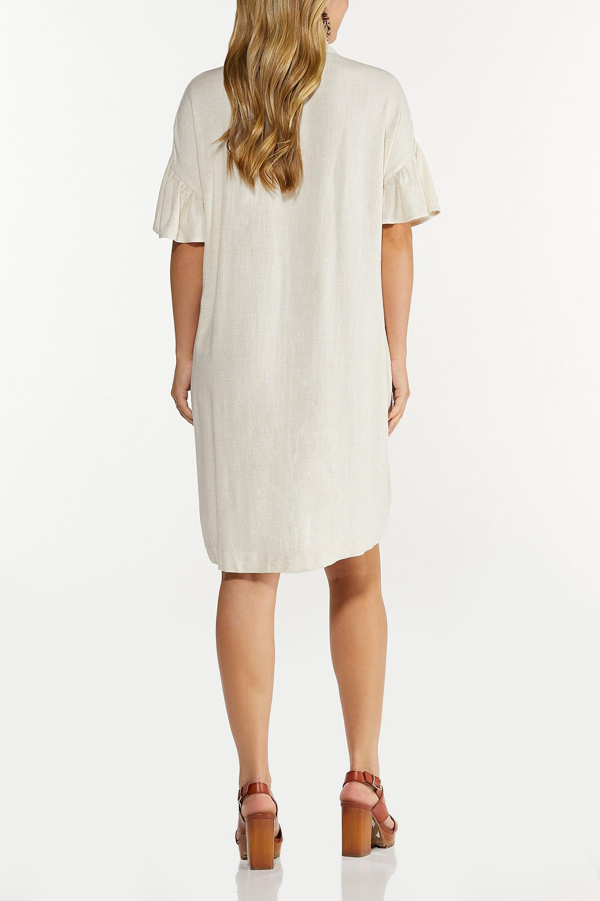 Plus Size Ruffled Sleeve Linen Dress (Item #44619593)
