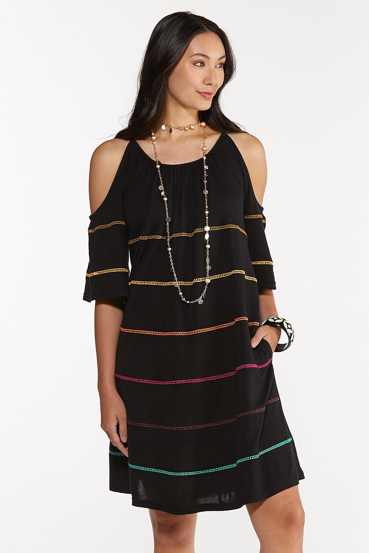 Plus Size Cold Shoulder Swing Dress (Item #44619643)