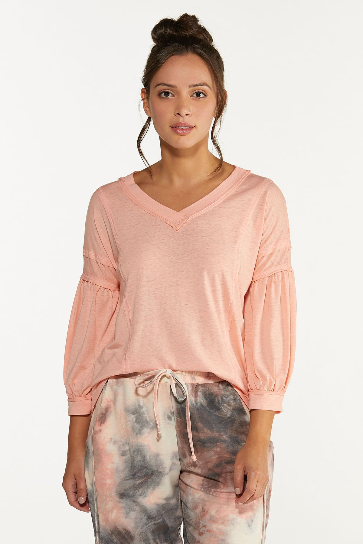 Plus Size Solid V-Neck Lounge Tee (Item #44620476)