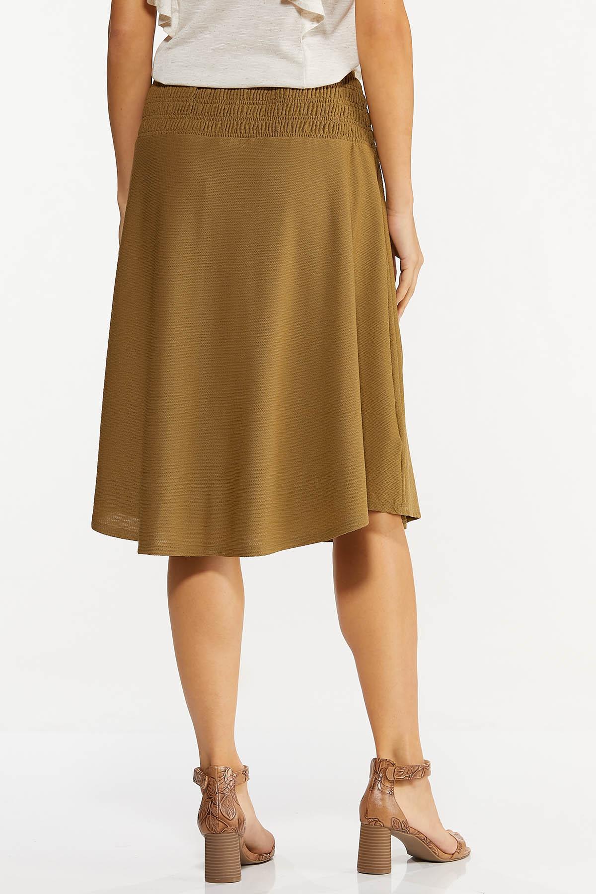 Plus Size Smocked Waist Olive Midi Skirt (Item #44620543)