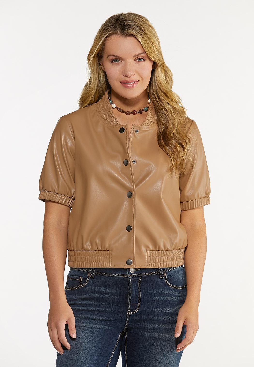 Plus Size Faux Leather Bomber Jacket (Item #44620596)