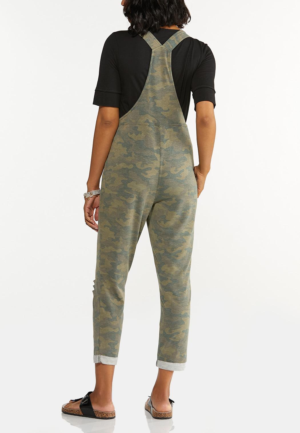 Plus Size Distressed Camo Overalls (Item #44620604)