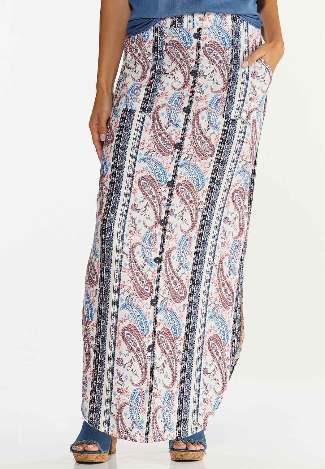 Plus Size Paisley Button Front Maxi Skirt (Item #44620612)
