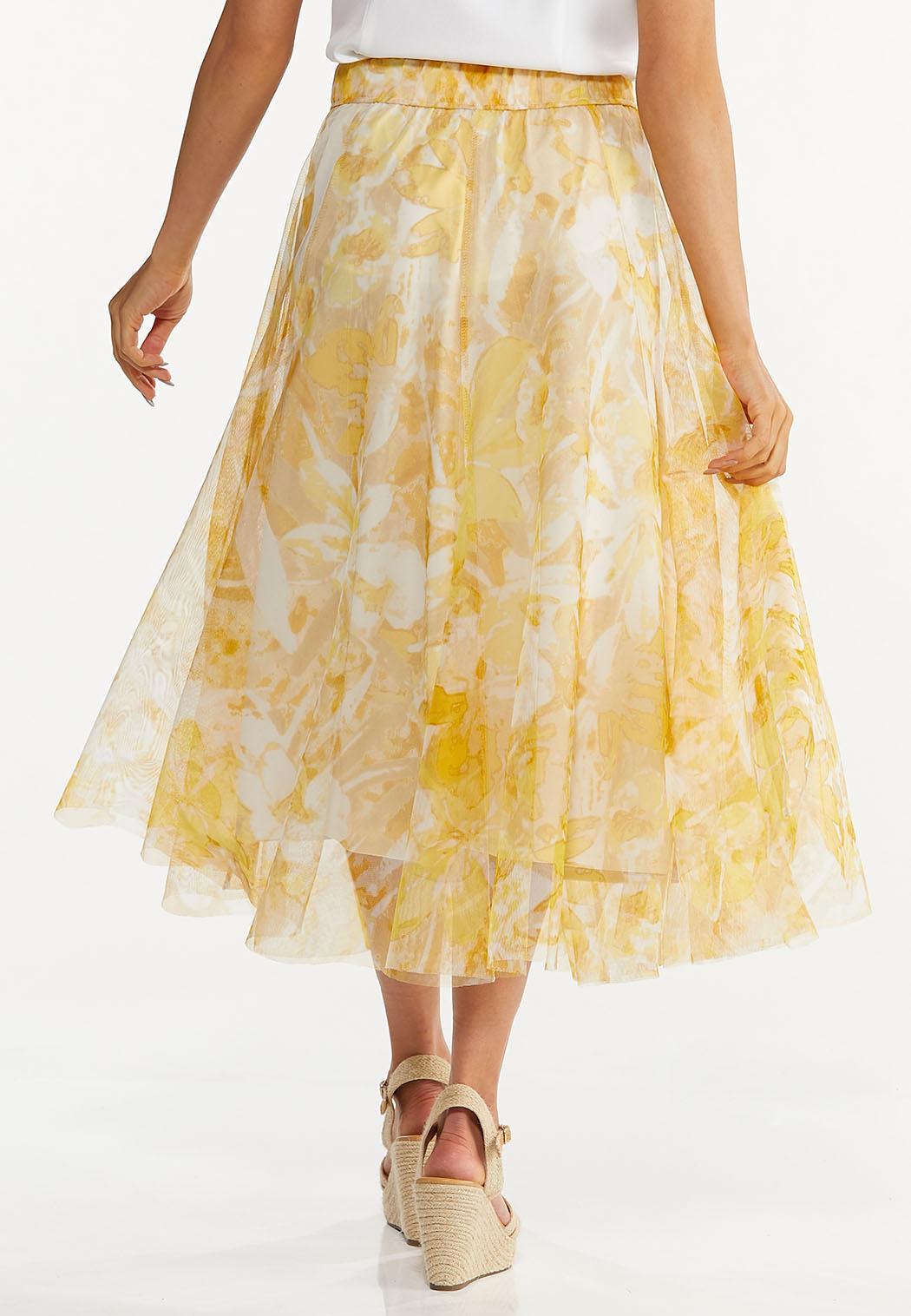 Plus Size Yellow Floral Mesh Midi Skirt (Item #44620621)