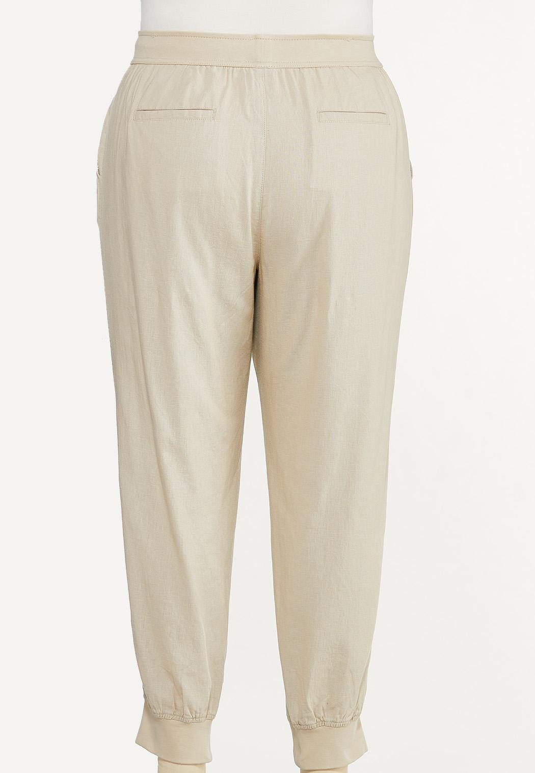 Plus Size Natural Linen Joggers (Item #44620658)