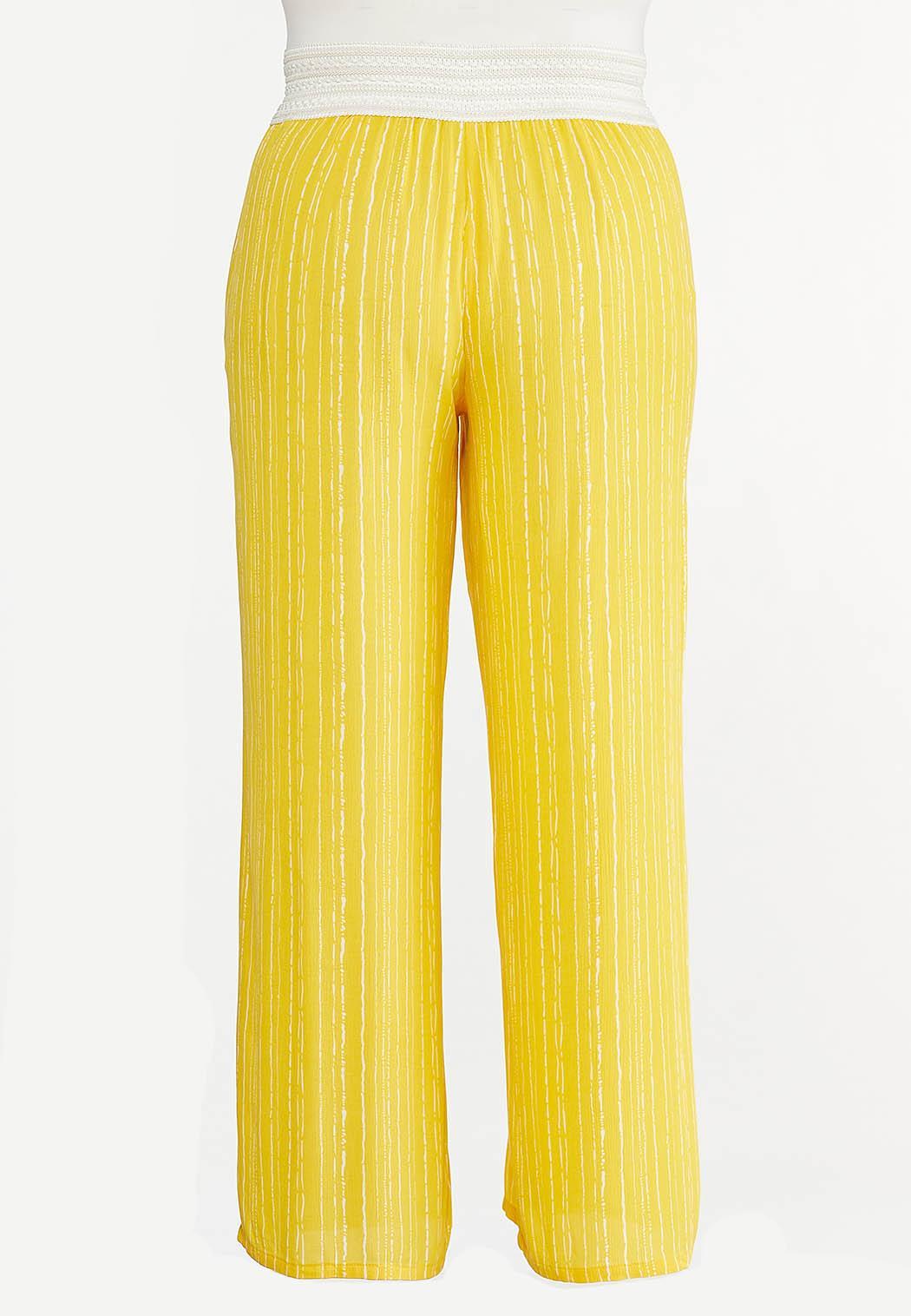 Plus Size Gold Crochet Waist Pants (Item #44620816)