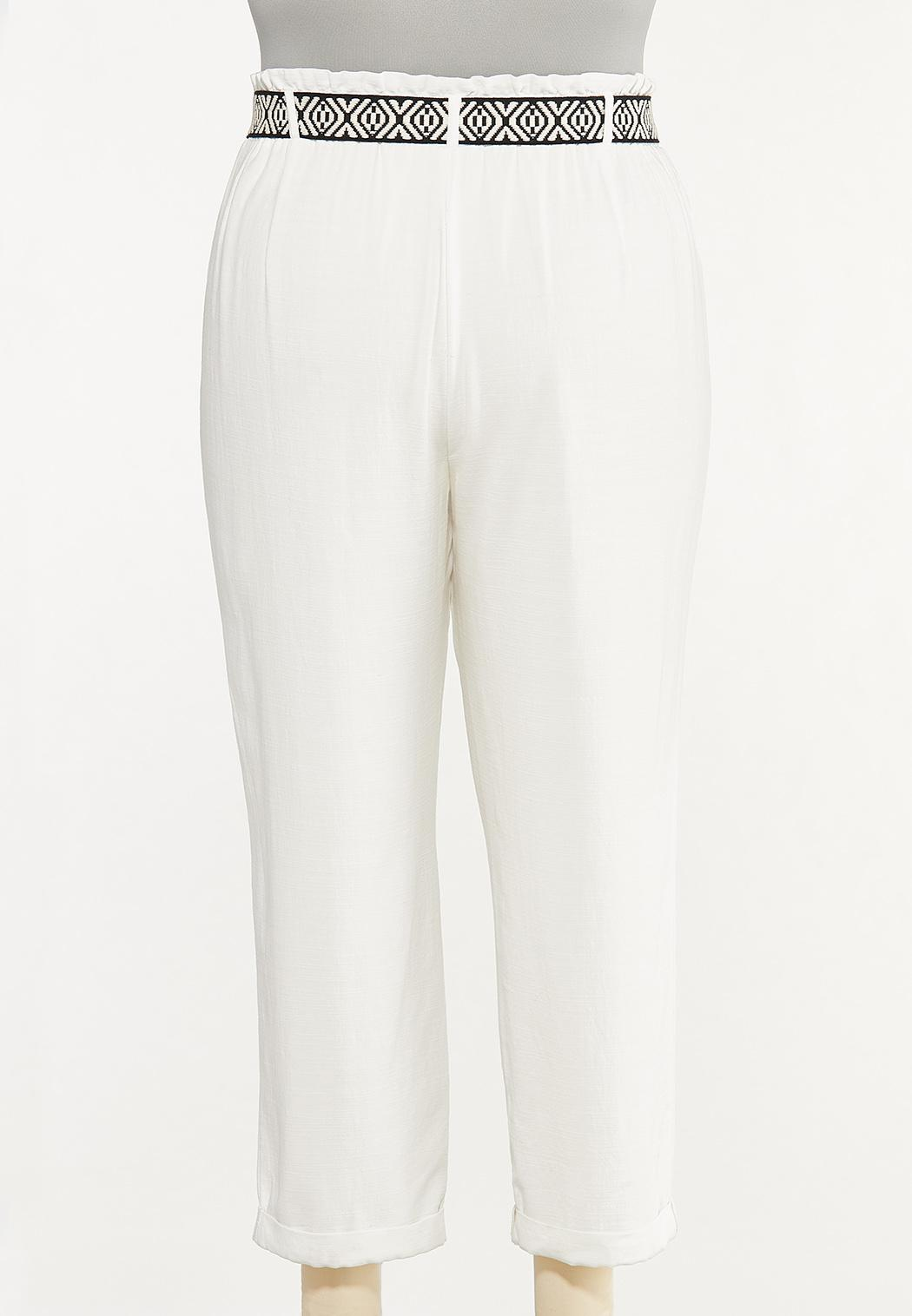 Plus Size Breezy White Belted Pants (Item #44620824)
