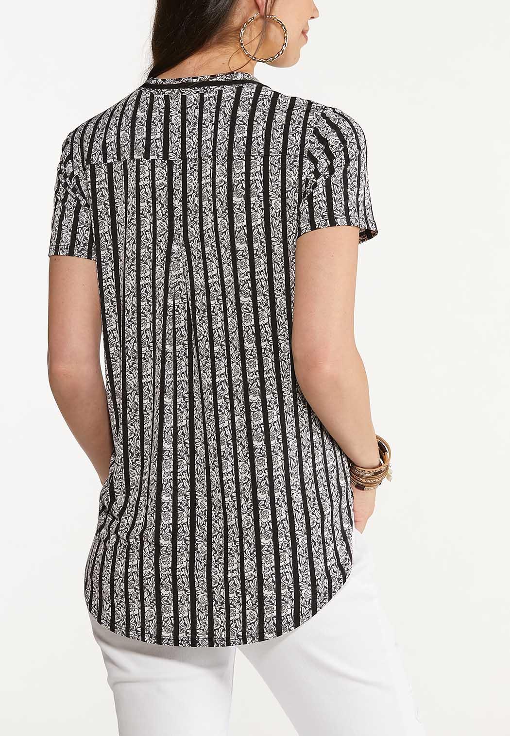 Plus Size Contrast Striped Rose Top (Item #44621089)