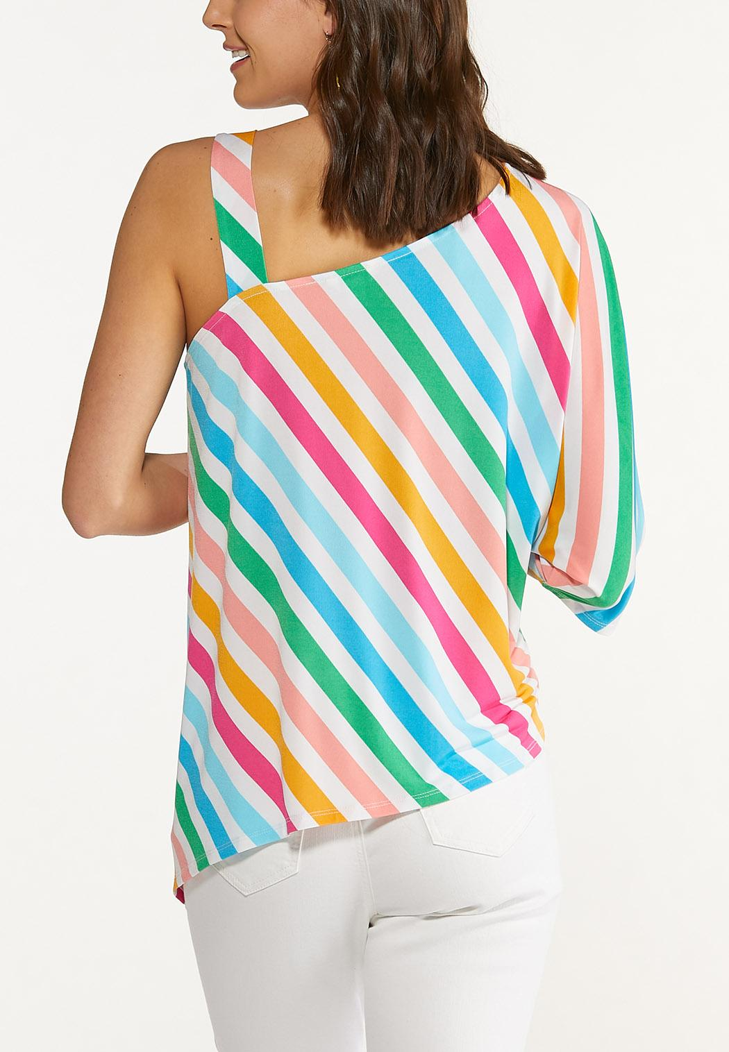 Plus Size Striped Asymmetrical Top (Item #44621107)