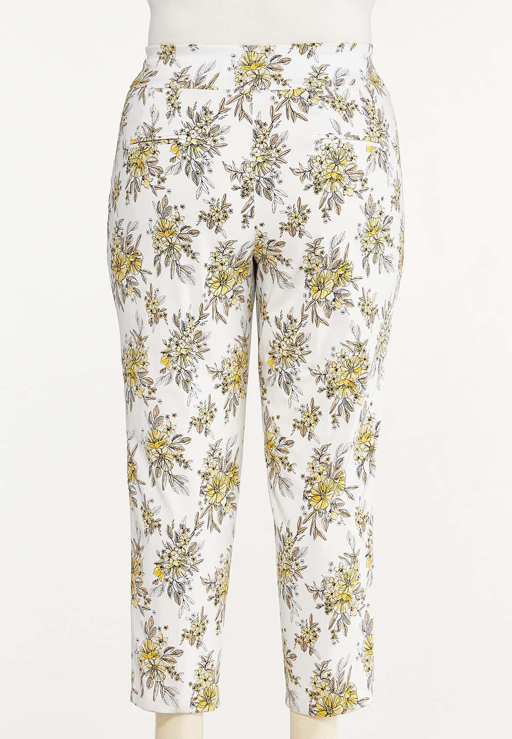 Plus Size Sketch Floral Bengaline Pants (Item #44621191)