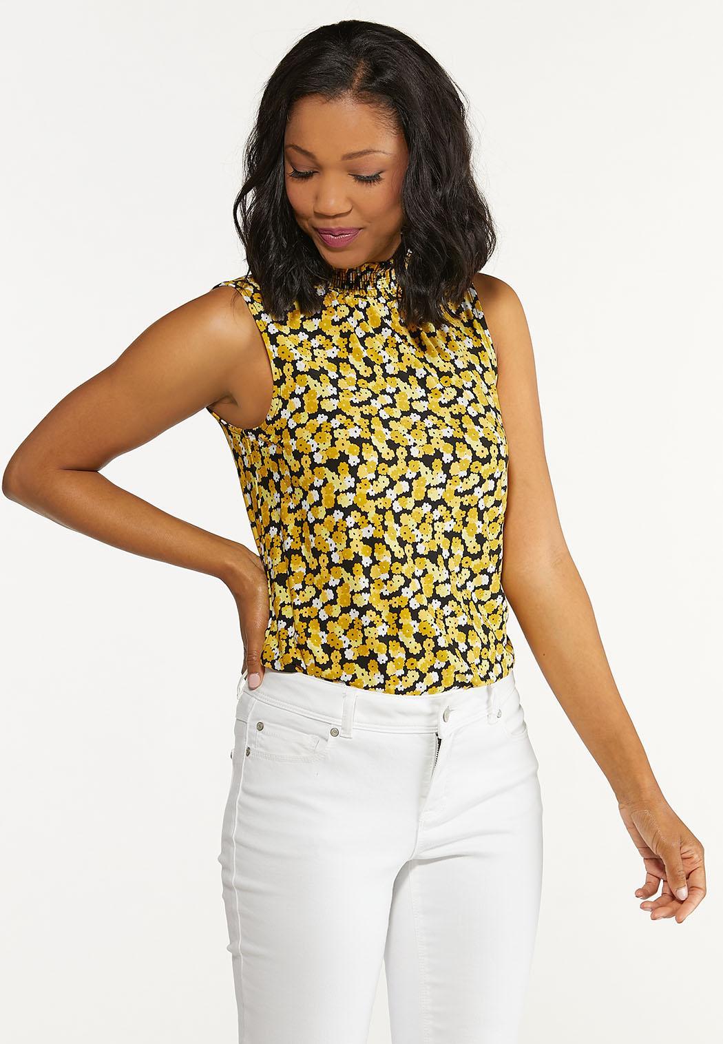 Plus Size Smocked Yellow Floral Tank (Item #44621369)