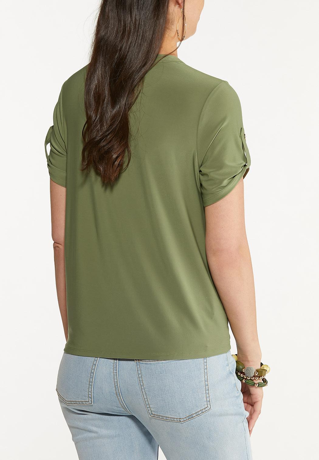 Olive Utility Tie Hem Top (Item #44621708)