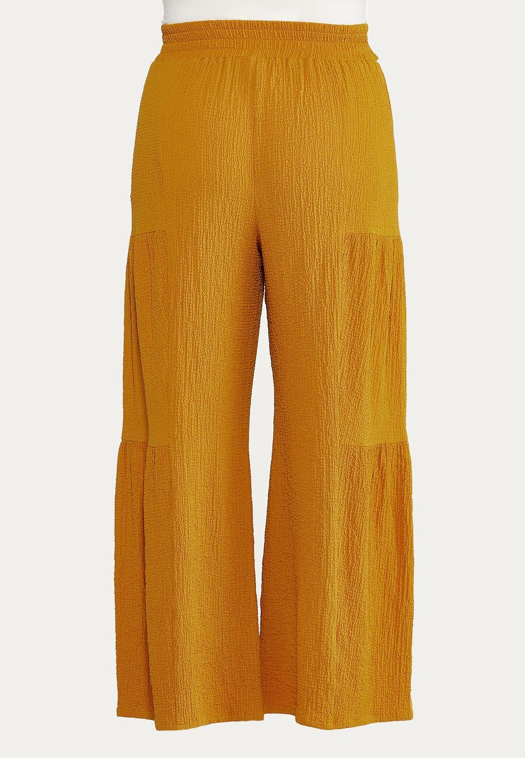Plus Size Textured Tiered Pants (Item #44621894)
