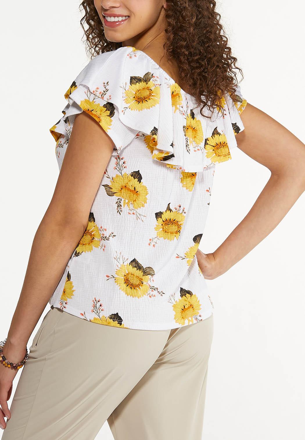 Plus Size Sunflower Tie Front Top (Item #44622089)