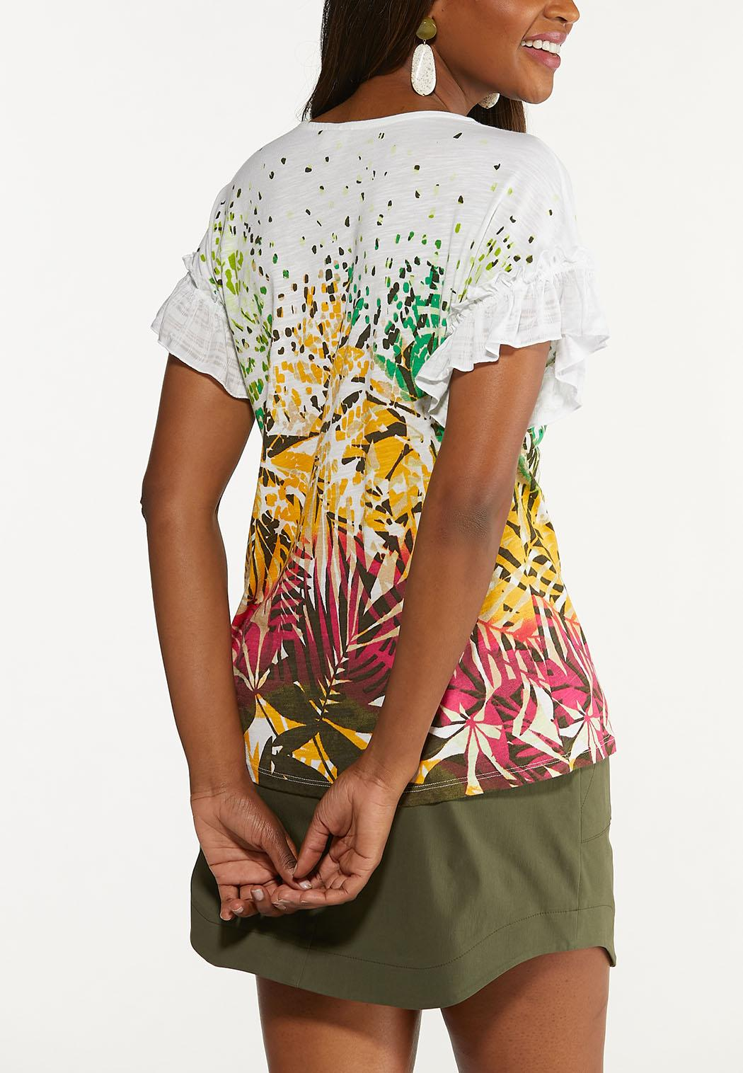 Plus Size Tropical Ruffled Sleeve Top (Item #44622229)