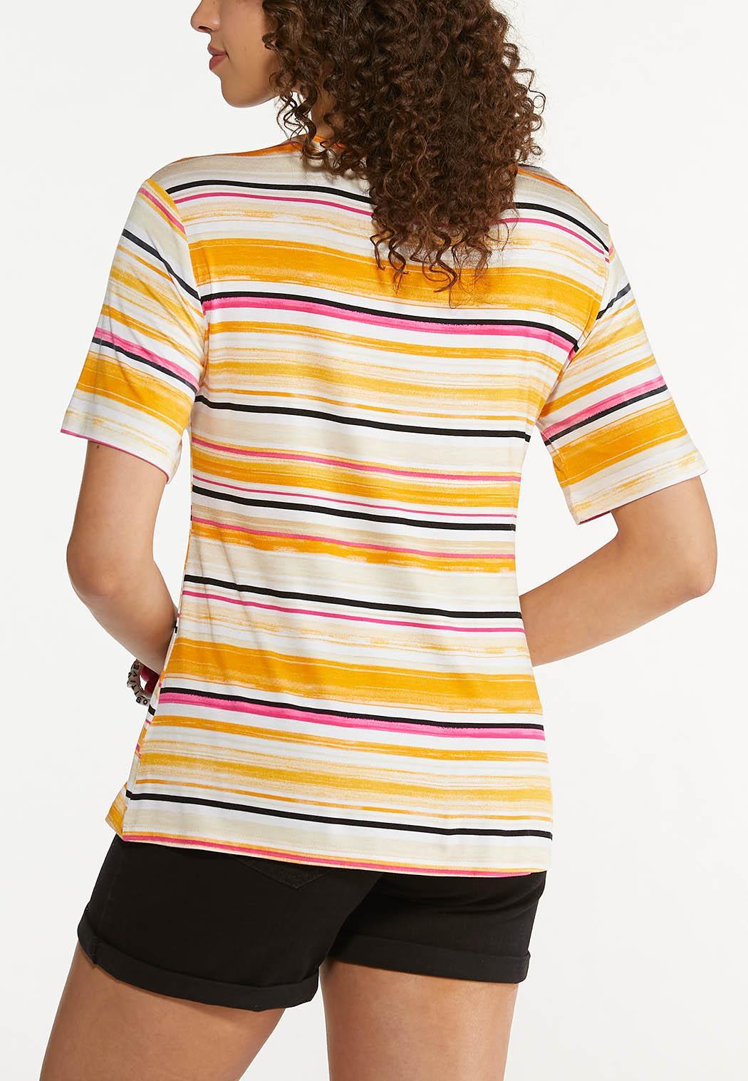 Plus Size Paisley Stripe Cutout Tee (Item #44622378)