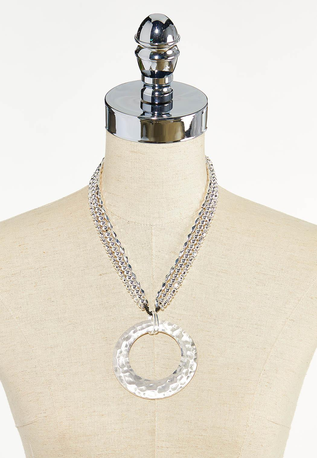 Hammered Ring Pendant Necklace (Item #44622396)