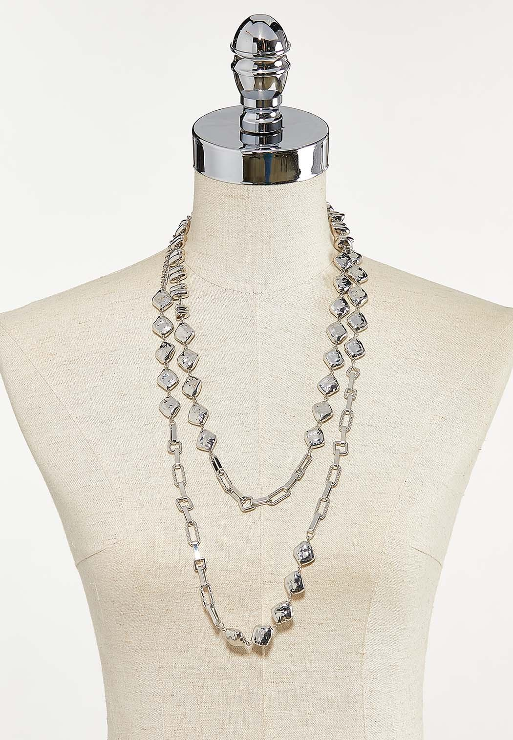 Layered Metal Stone Necklace (Item #44622405)