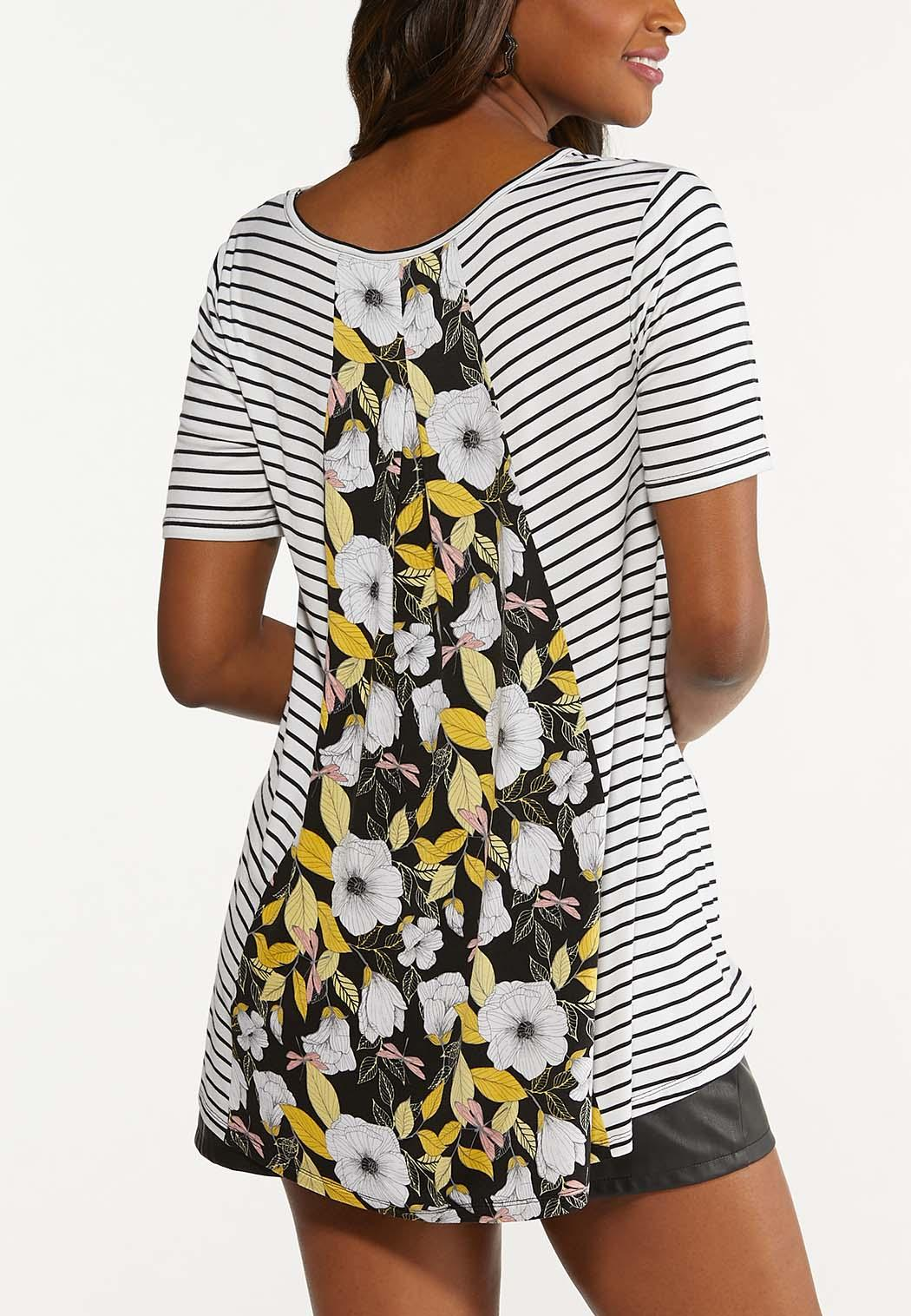 Plus Size Striped Floral Back Tee (Item #44622462)