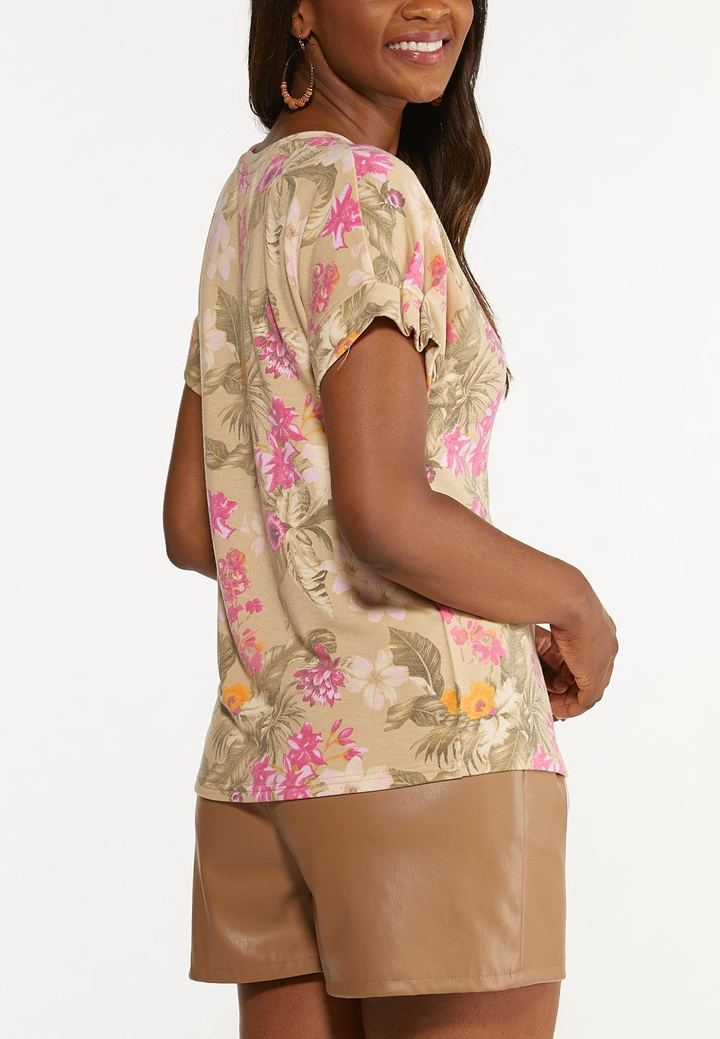 Plus Size Floral Pleated Sleeve Top (Item #44622496)