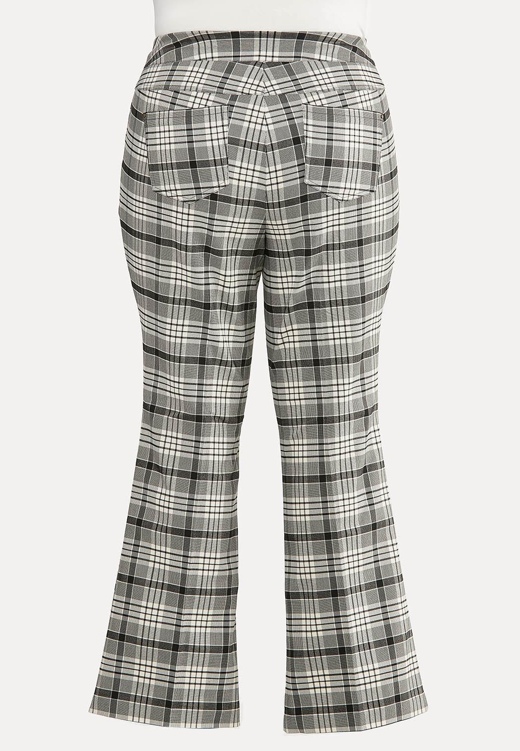 Plus Size Black Plaid Pants (Item #44622573)