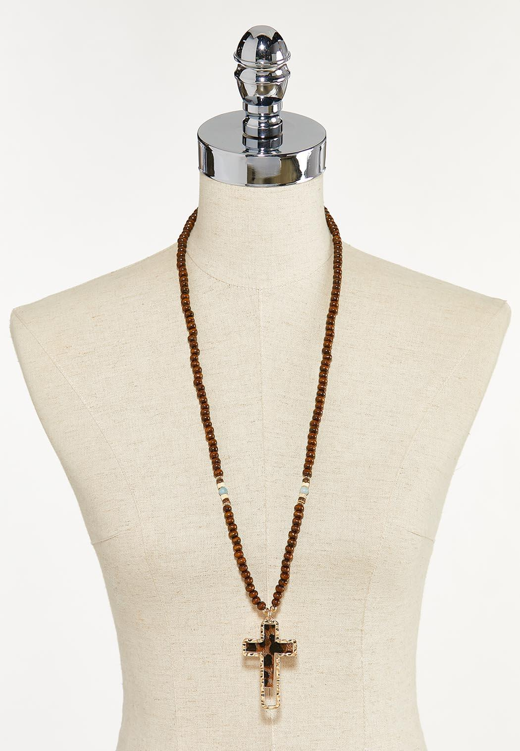 Beaded Leopard Cross Necklace (Item #44622602)