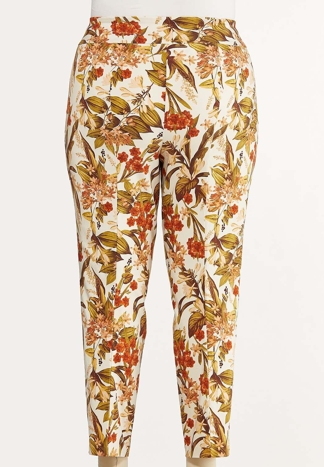 Plus Size Fresh Floral Ankle Pants (Item #44622632)