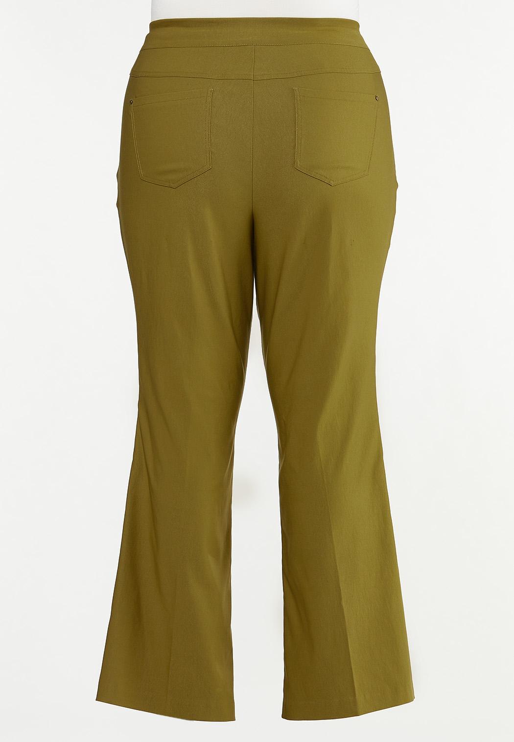 Plus Size Solid Bengaline Flare Pants (Item #44622666)