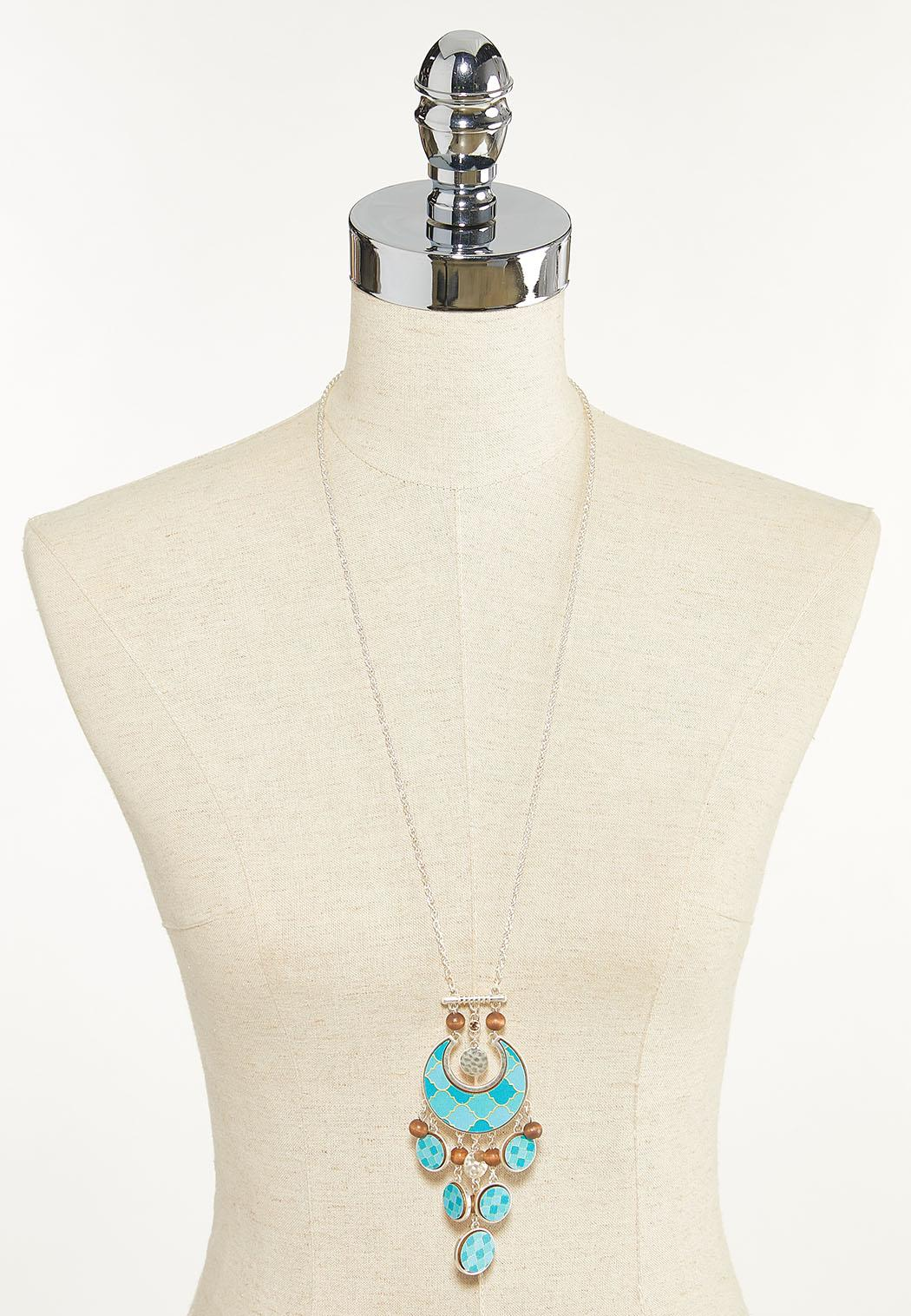 Moroccan Wood Pendant Necklace (Item #44623464)