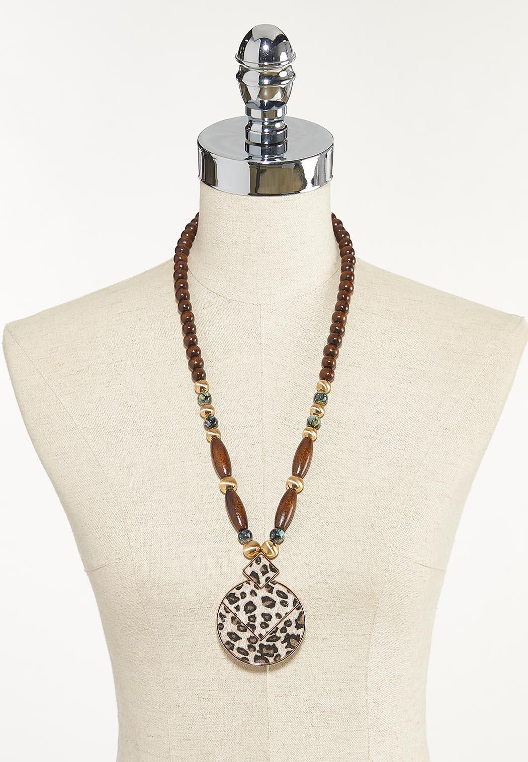 Beaded Leopard Pendant Necklace (Item #44623502)