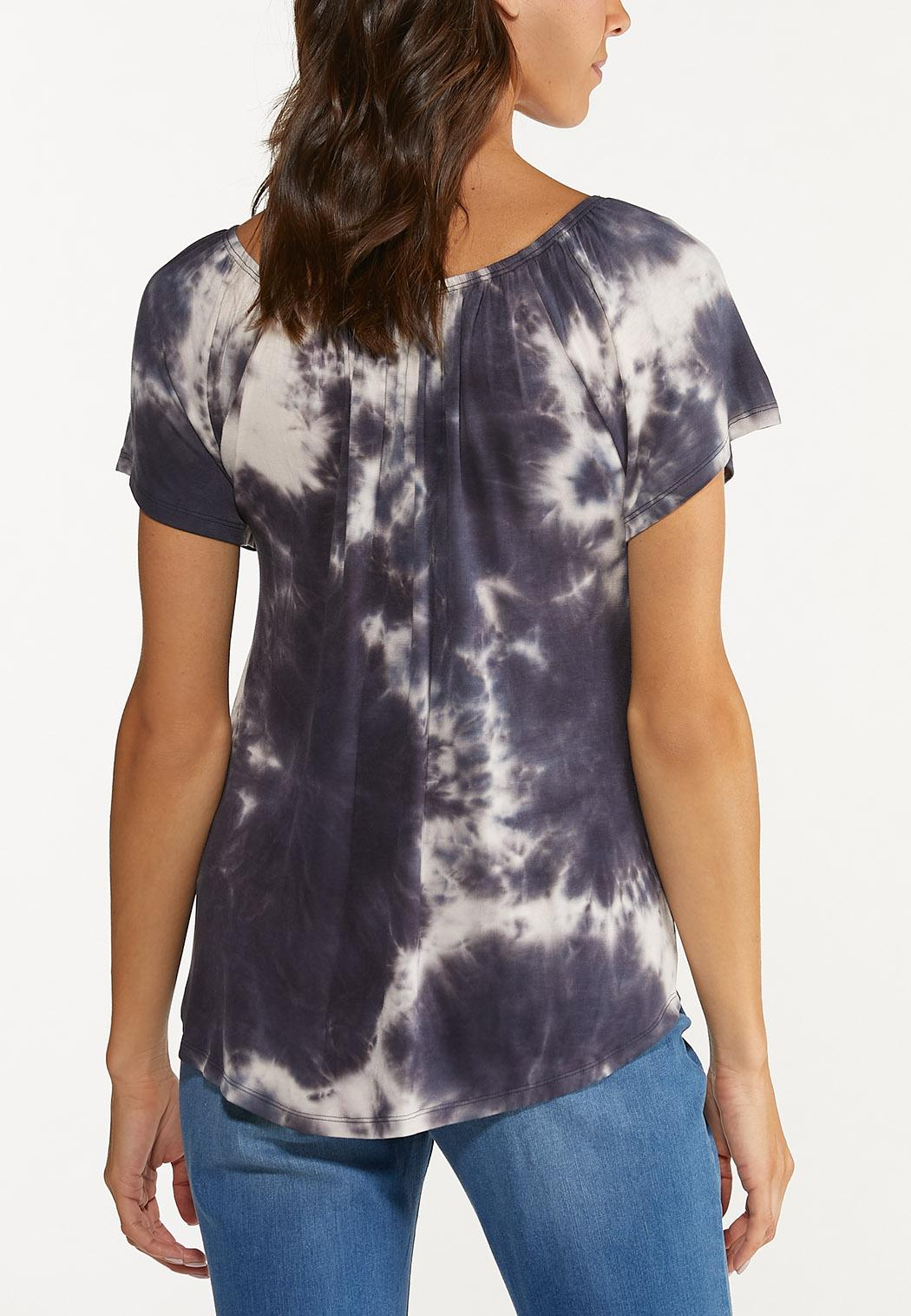 Plus Size Knotted Tie Dye Top (Item #44623661)