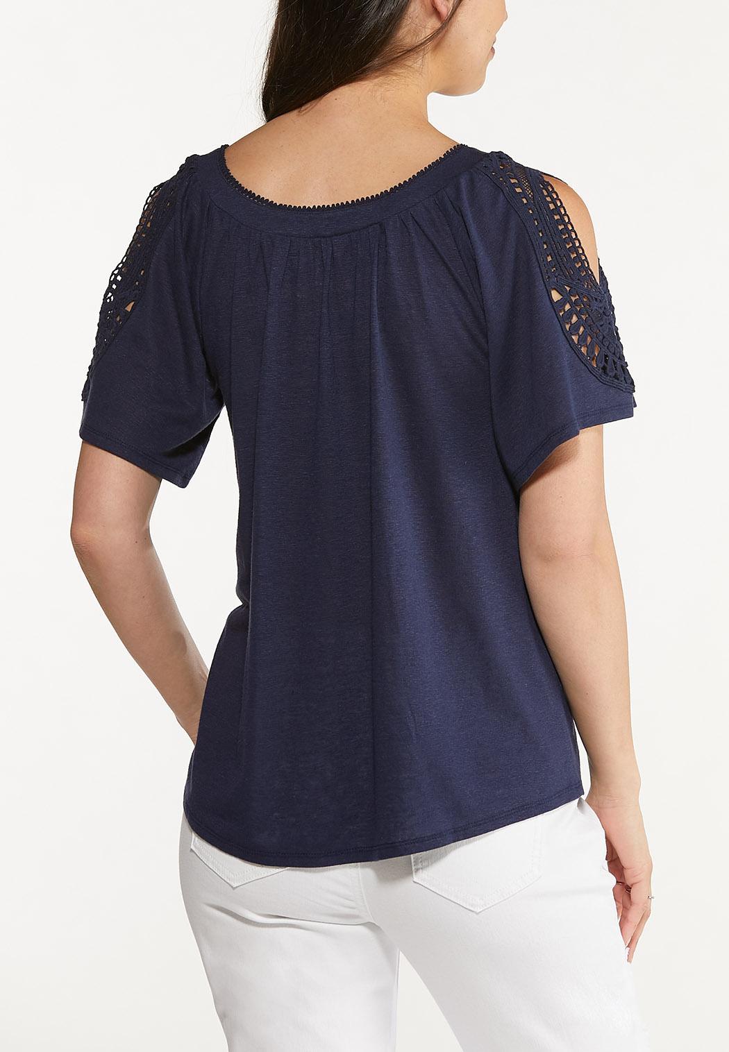 Plus Size Crochet Cold Shoulder Top (Item #44623724)