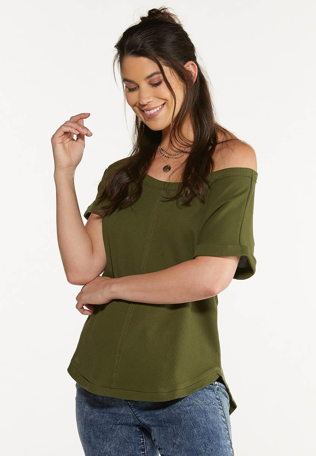 Plus Size Slouch Waffle Top (Item #44623748)