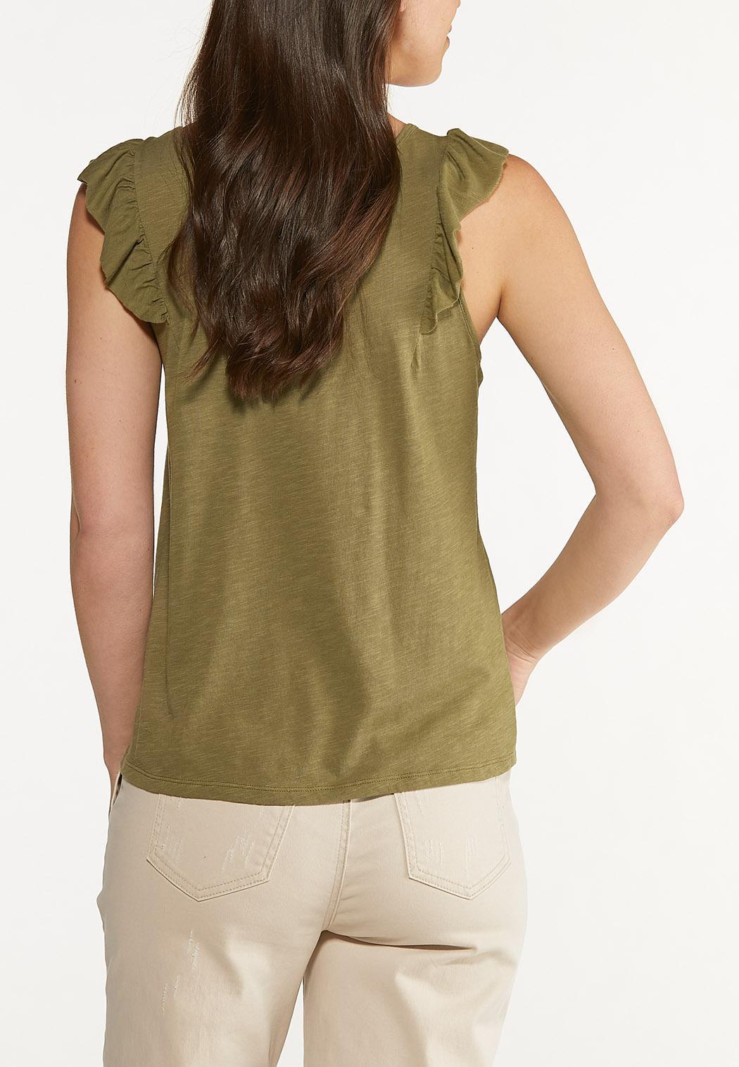 Plus Size Olive Ruffled Shoulder Tank (Item #44623826)