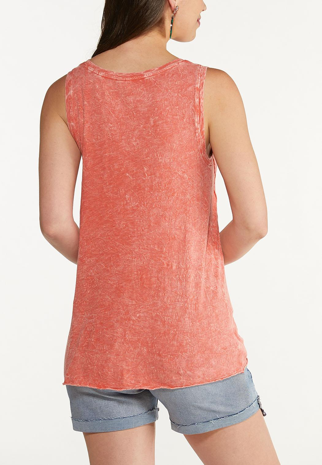 Plus Size Faded Tie Front Tank (Item #44623858)