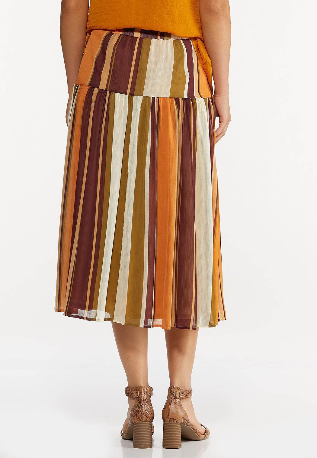 Plus Size Stripe Crinkled Chiffon Skirt (Item #44623915)
