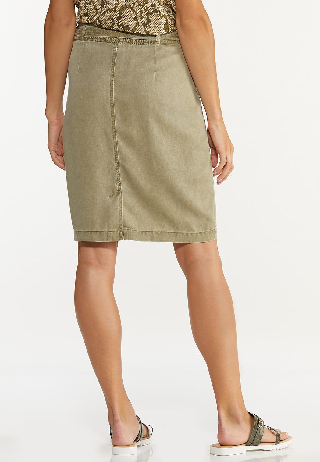 Plus Size Olive Pencil Skirt (Item #44623944)